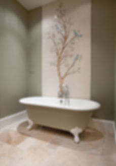 Bird and Branch tile design painted on hand painted tiles for bathroom tiles as splashback