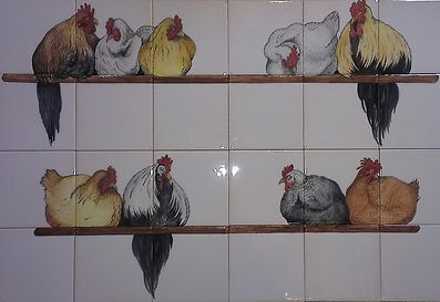 CHICKENS ROOSTING ON TILES BY E J TILE DESIGN