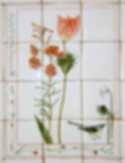 floral hand painted tiles for kitchen splash back