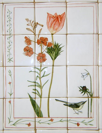 FLORAL DESIGNS PAINTED ON TILES