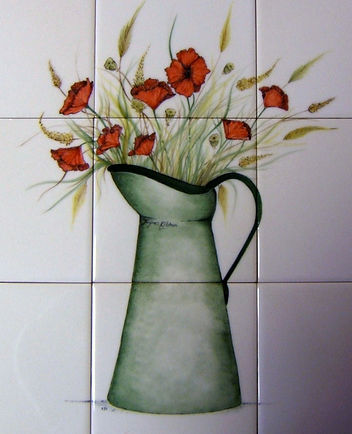 MILK JUG WITH POPPIES ON HAND PAINTED TILES