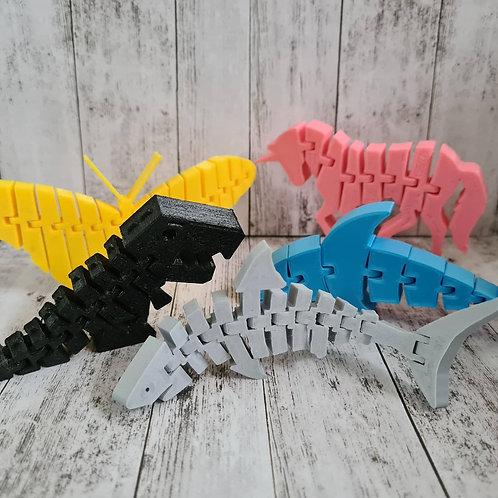 Flexi / articulated animals - t rex, dolphin, unicorn, butterfly, shark