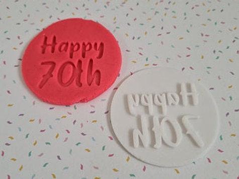 Happy 70th Fondant / Cookie Stamp