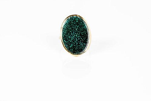 Enameled Green Galaxy Ring