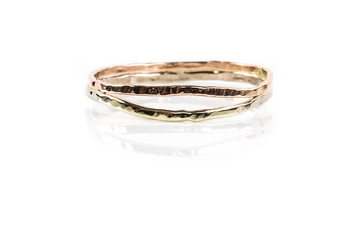 18k Double Hammered Ring