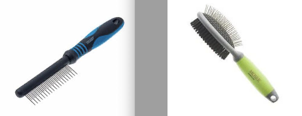 Слева расческа 2-х ярусная для очёсов, справа 2-х сторонняя массажная щетка с щетиной для щенков