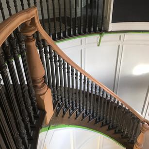 Victorian Wood railings with metal balusters