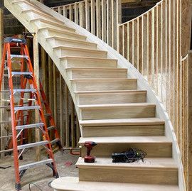 Custom Partial Open Curved Staircase, NJ