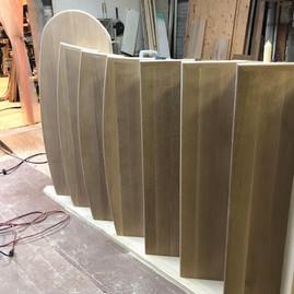 Custom White Oak Staircase Flared and Bo
