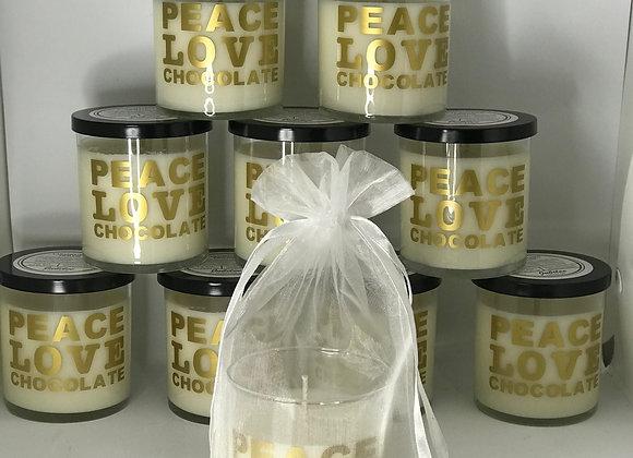 "Peace. Love. Chocolate. ""Caramelized Pecan"" Candle"