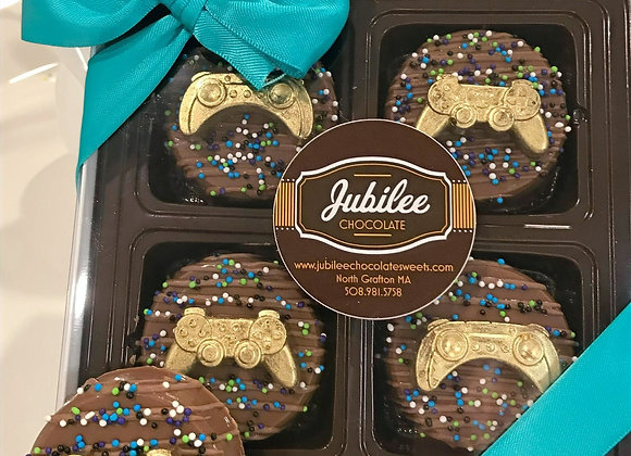 """""""Gamer"""" Chocolate Covered Oreos Gift Box of Four"""
