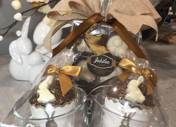 Double Mug Hot Chocolate Cocoa Bombs & 6 Oreo Bunny Bum Gift Basket
