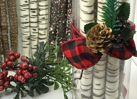 Birch Tree Buffalo Plaid Pretzel Tube