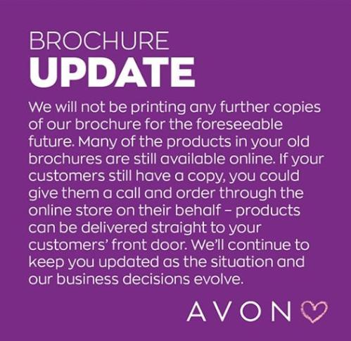 No more Avon Brochures announcement