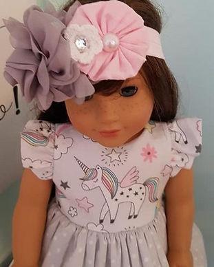 18_ Unicorn Ruffle Sleeve Doll Dress wit