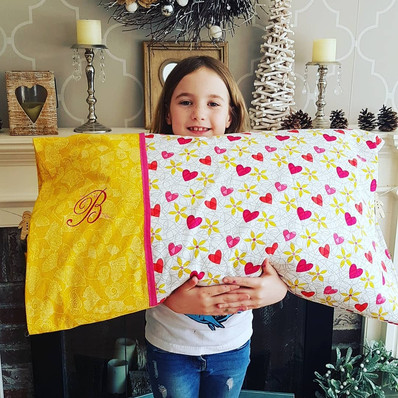 Homemade Pillowcase with Embroidered Mon