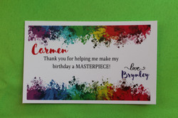 Printed, personalized thank you messages