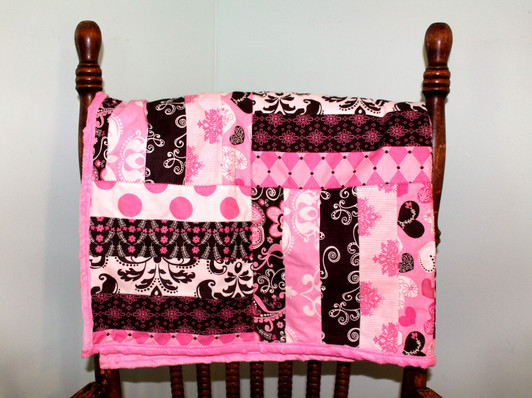 36_ x 36_ quilt with pink minky backing