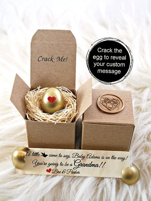 Golden Heart Pregnancy Announcement Egg