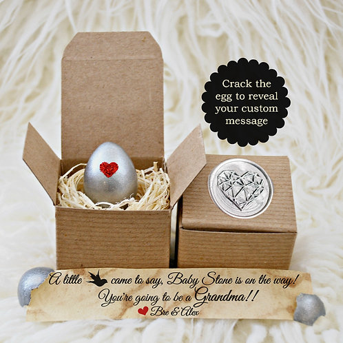 Pregnancy Reveal Egg - Silver Heart