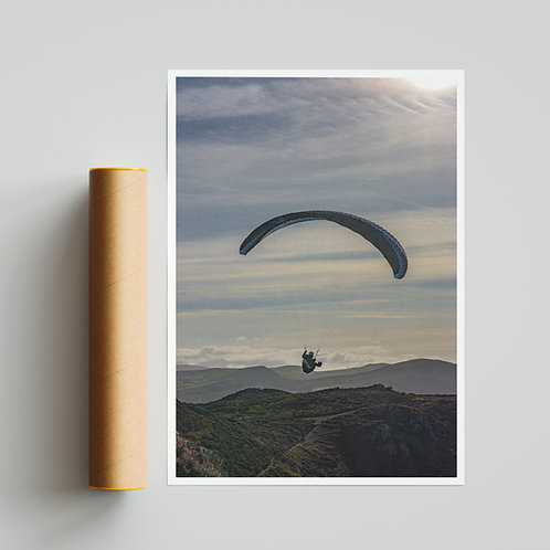 Conwy Valley Paraglider Silhouette Print