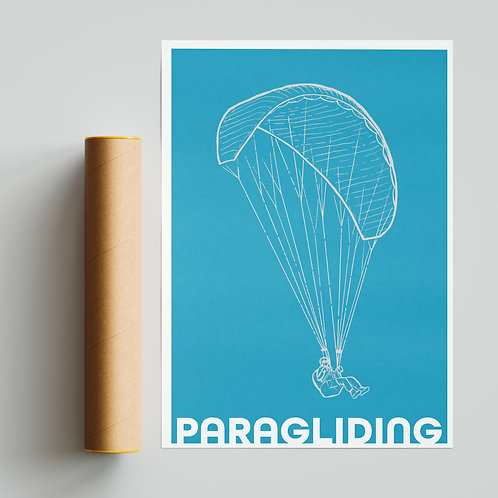 Simple Blue Paraglider Paragliding Print