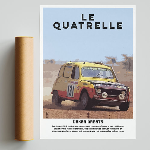 """Le Quatrelle"" Renault Dakar Rally Print"