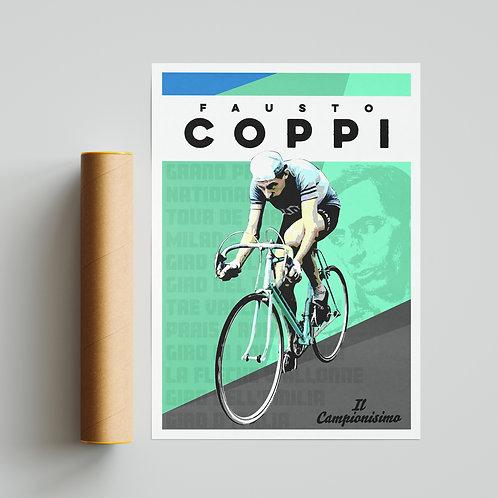Fausto Coppi Cycling Print