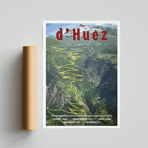Alpe D'huez Info Print Cycling