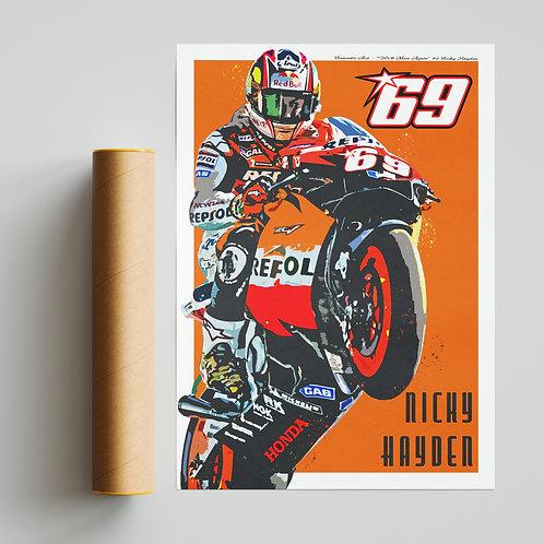 Nick Hayden Tribute MotoGP Print Repsol Honda