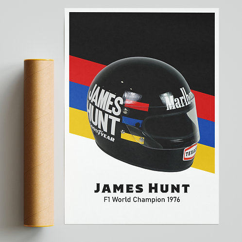 James Hunt Helmet Print F1
