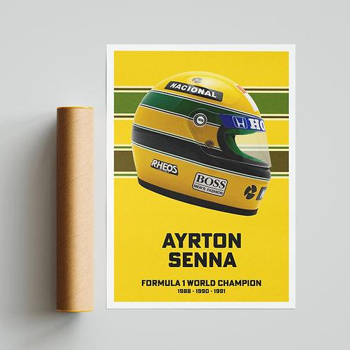 Ayrton Senna F1 Helmet Poster
