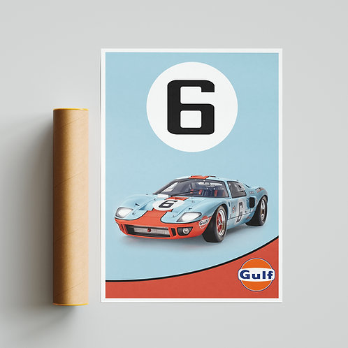Ford GT40 Le Mans Poster Print Gulf