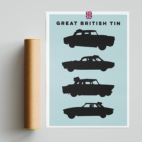 Great British Tin Silhouette Print Banger Racing