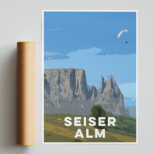 Seiser Alm Italy Paragliding Site Print