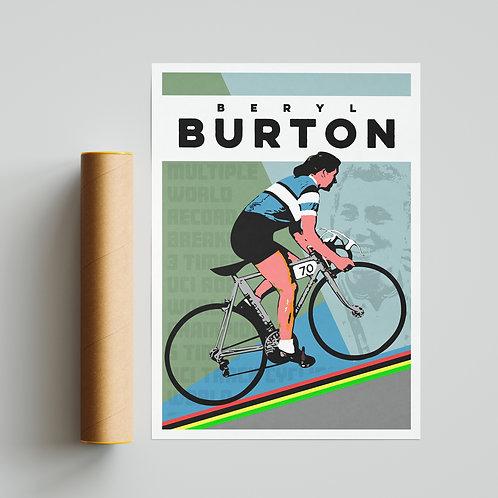 Beryl Burton Cycling Print