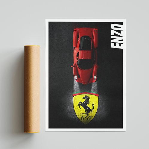 Night Scene Ferrari Enzo Poster