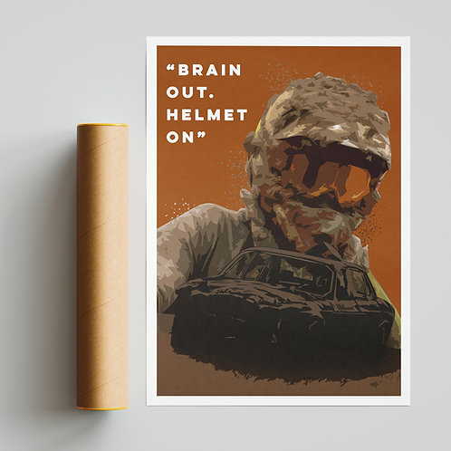 """""""Brain Out, Helmet On."""" Quote Print Banger Racing"""