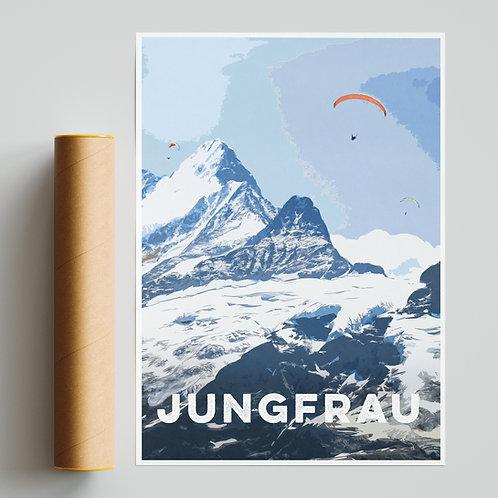 Jungfrau Switzerland Alps Paragliding Site Print