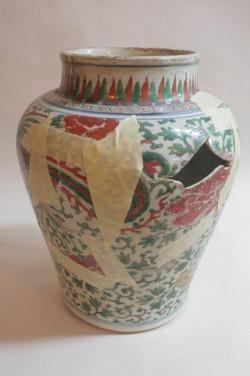 Large Chinese vase during repair