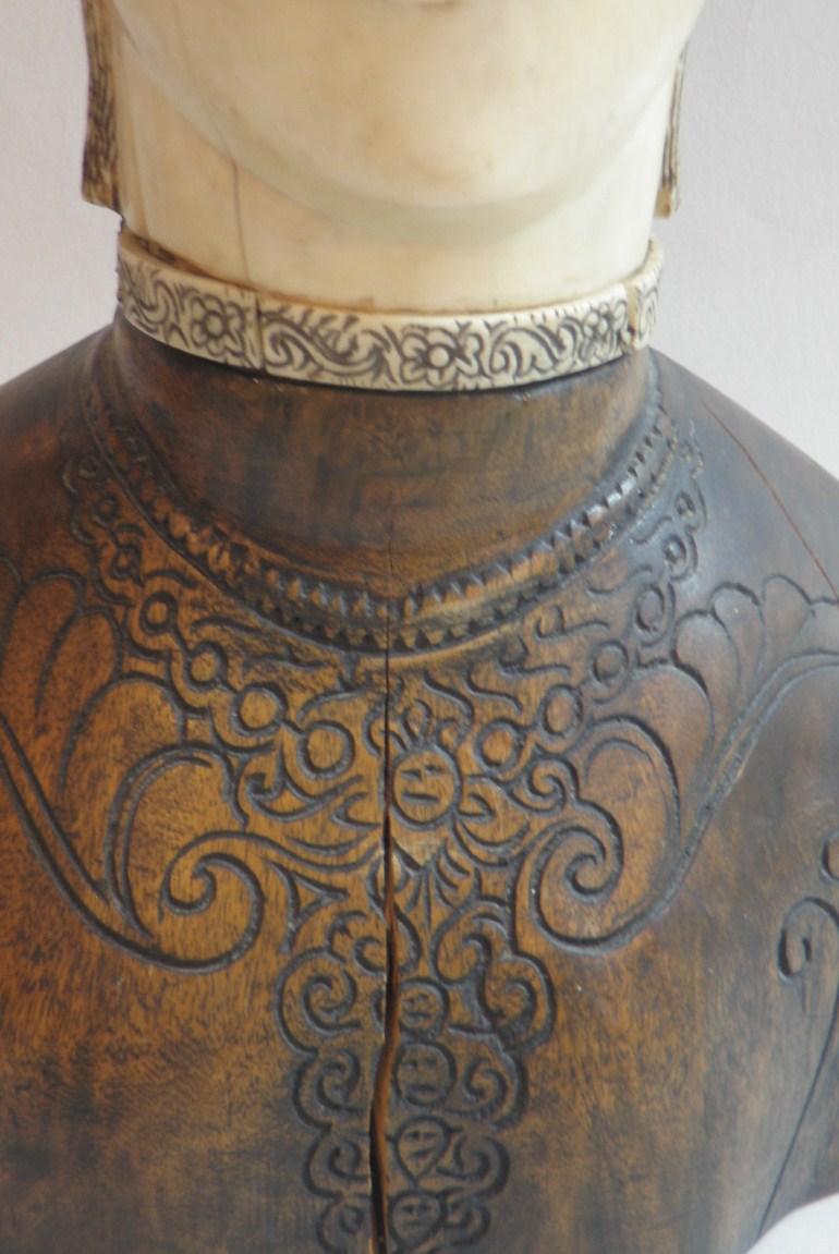 Sumatran ivory and wood bust