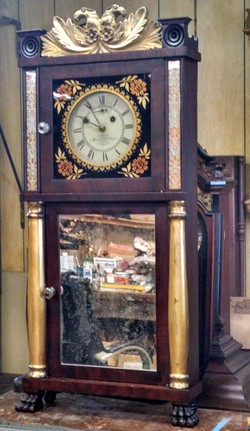 Munger clock, repaired top in place