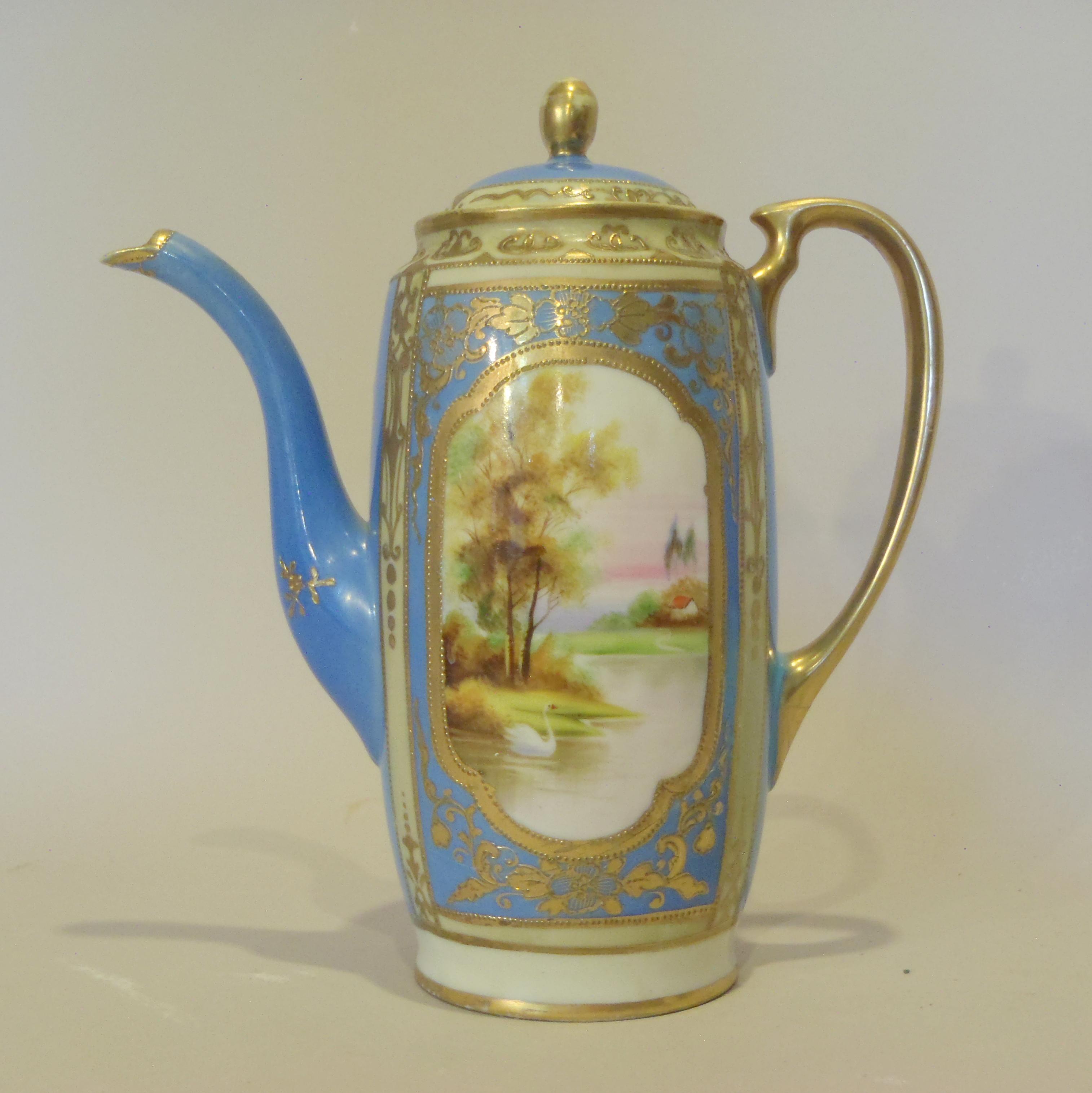 porcelain coffee pot after restoration