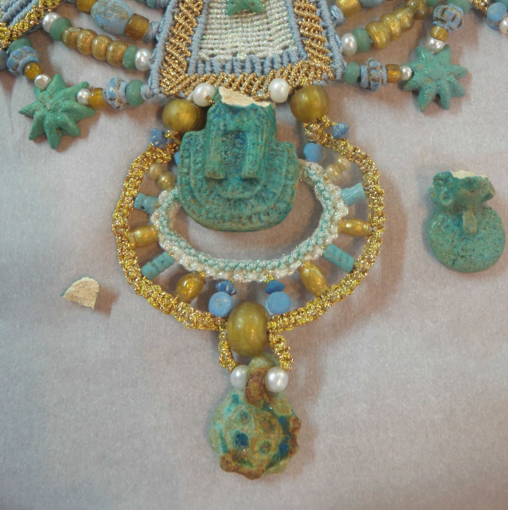 Faience necklace before treatment