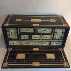 16th c. ebony and ivory desk cabinet