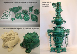 Stacked malachite altarpiece carving