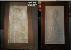 19th century plaster portrait relief