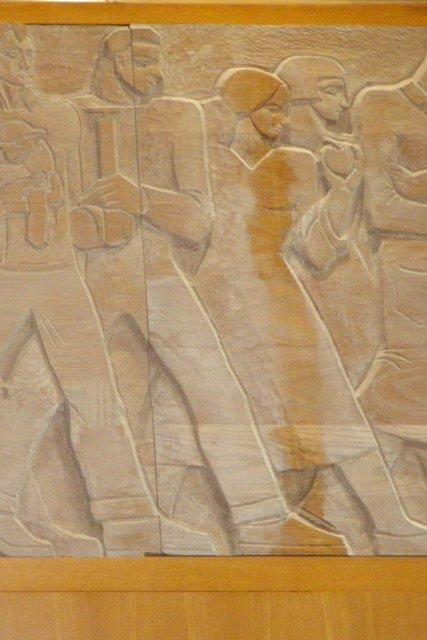 Elfriede M. Abbe, carved oak mural