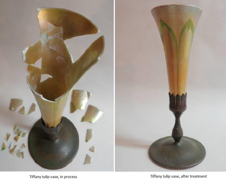Louis Comfort Tiffany tulip vase restoration