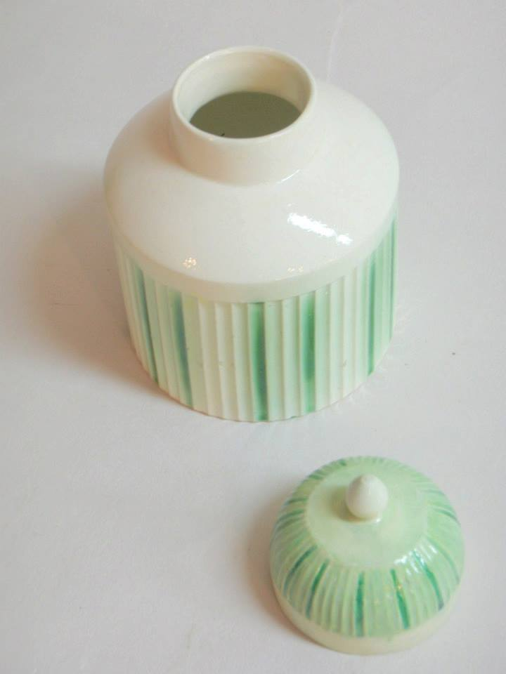 Small porcelain jar with lid after